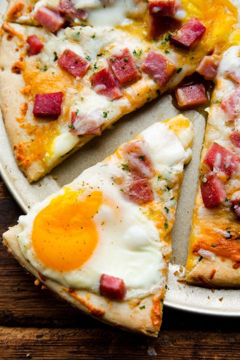 Ham Egg Cheese Breakfast Pizza Vertical