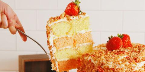 Strawberry Crunch Cake Horizontal Slice