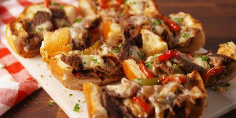 Philly Cheesesteak Cheesy Bread Horizontal Slices