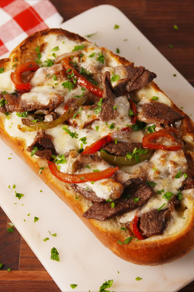 Philly Cheesesteak Cheesy Bread Vertical 2