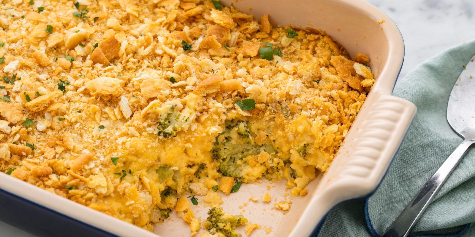 Easy broccoli cheese casserole recipe how to make cheesy for Broccoli casserole with fresh broccoli