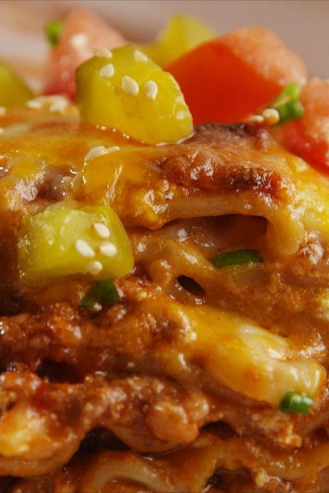 Cheeseburger Lasagna Vertical