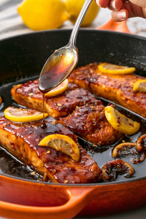 The most addicting salmon recipe ever. Get the recipe: Honey Garlic Glazed Salmon BUY NOW: Le Creuset Cast-Iron 12
