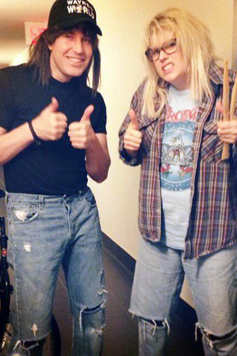 Why not dress as the the most excellent BFFs in honor ofWayne's World's 25th anniversary? There's a good chance you already have most of the costume elements — you might even have respective long brown and long blonde hair — so it's an especially easy costume to pull together last-minute. What you'll need:Wayne's World hat ($14,), Aerosmith t-shirt ($20,)