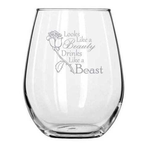 Looks Like a Beauty - Drinks Like a Beast Wine Glass