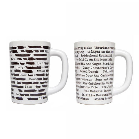 Fill with coffee or tea and watch the black lines morph away to reveal the book titles. BUY NOW: $12