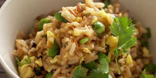 This simple whole-grain side dish is seasoned with fresh cilantro, soy sauce, and rich sesame oil.Recipe: Fried Brown Rice