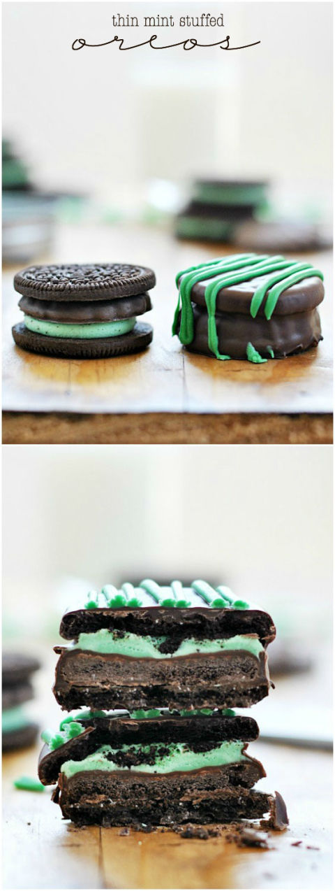 This recipe features our two absolute favorite packaged cookies in one heavenly bite. Thin Mints are placed inside of an OREO, then the whole thing is dipped in chocolate. Enough said. Get the recipe at: somethingswanky.com