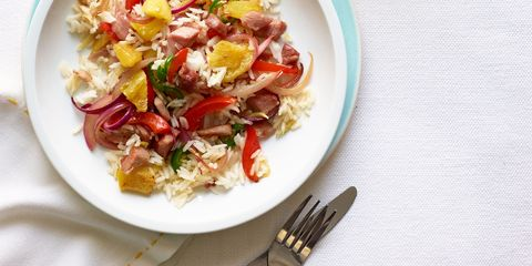 Fried rice gets a light spring lift from tropic ingredients that conjure a different comfort food favorite — Hawaiian Pizza! Recipe: Pineapple and Ham Fried Rice