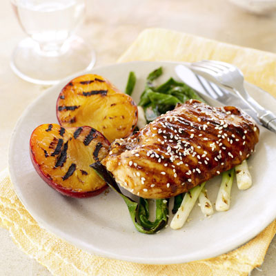 Hoisin-Glazed Chicken with Plums and Green Onions - Grilled Chicken ...