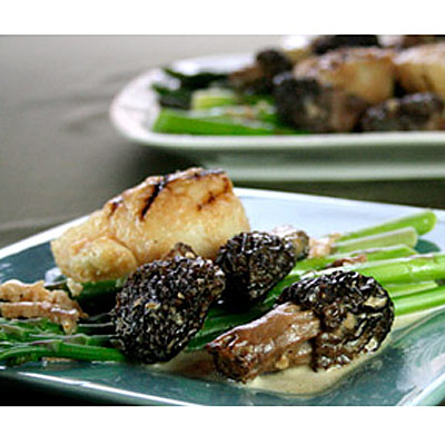 ... Morels with Scallops and Asparagus, winner of the Marx Foods Mushroom