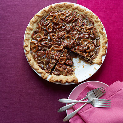 This deliciously crunchy pie has some surprising undertones of orange, vanilla, and cinnamon, which are perfect contrasts to the salty pretzels. Recipe: Chocolate Pretzel Pecan Pie