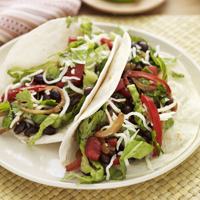 beans make a hearty stand-in for ground beef in these vegetarian tacos ...