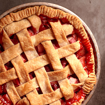 ... this all-American pie.Recipe: Strawberry-Rhubarb-Raspberry Lattice Pie
