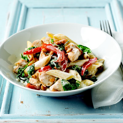 A Creamy Sauce Studded With Chunks Of Juicy Chicken And Bright Green Spinach Makes A Simple Courtesy Of Kraft
