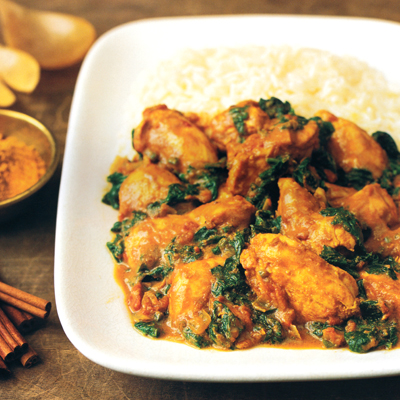 Indian-Spiced Chicken and Spinach - Chicken Spinach Curry Recipes