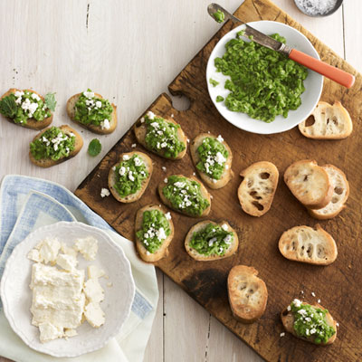 Smooth ground peas, mint, and feta cheese create a simple, flavorful topping for crostini.Recipe: Pea-and-Feta Crostini