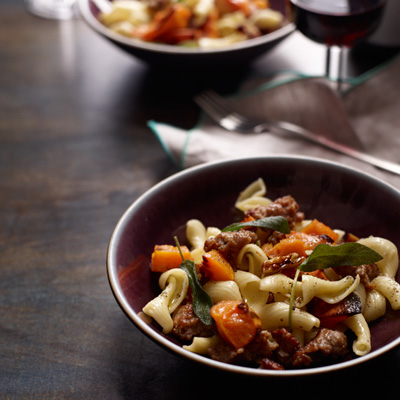 Pasta with Roasted Squash, Sausage, and Pecans Recipe