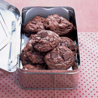 Do not bake the cookies to a crisp; a soft and chewy texture complements the intense chocolate experience.Recipe: Outrageous Chocolate Cookies