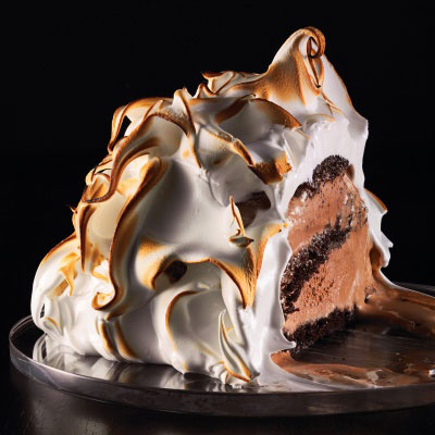 These mini meringue-coated chocolate ice-cream-and-cake concoctions are stunning desserts for a crowd.Recipe: Baked Alaska with Chocolate Cake and Chocolate Ice Cream
