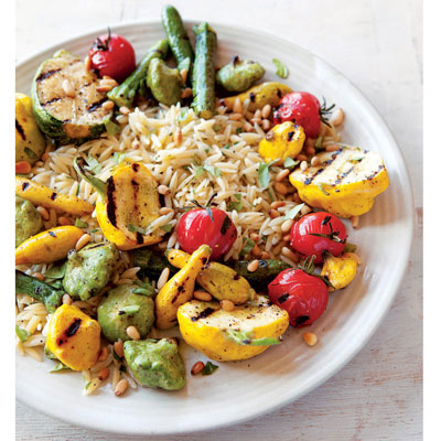 ... if using.Recipe: Grilled Squash and Orzo Salad with Pine Nuts and Mint