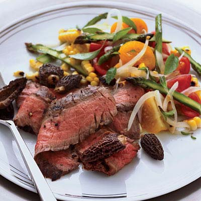 Grilled Flank Steak with Corn, Tomato, and Asparagus Salad Recipe