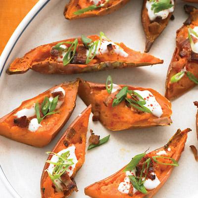 Loaded sweet potato skins recipe for Bar food ideas recipes