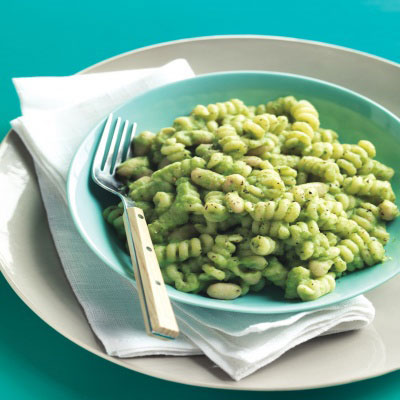 Cannellini beans are a high-fiber, low-calorie way to add protein to pasta dishes.Recipe: Pasta and White Beans with Broccoli Pesto