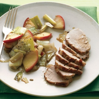 Broiled pork tenderloin gets tender and tasty in the blink of an eye; a side of cooked apples is gussied up with leeks, sherry vinegar, and honey. Recipe: Pork Tenderloin with Sauteed Apples and Leeks