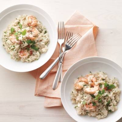 Creamy rice with shrimp and a hint of garlic and Parmesan cheese makes the perfect, easy, weeknight meal. To make it vegetarian, swap vegetable broth for the chicken broth and replace the shrimp with roasted vegetables like mushrooms or cherry tomatoes. Recipe: Shrimp-and-Herb Risotto