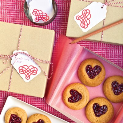 ... for wooing your Valentine.Recipe: Peanut-Butter-and-Jam Heart Cookies