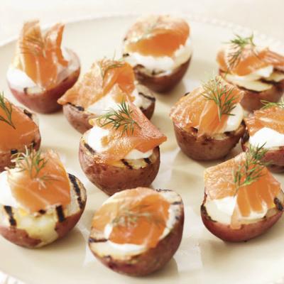 Potato Halves with Smoked Salmon and Dill