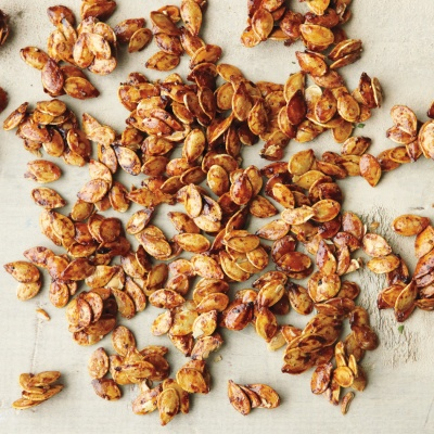 Don't toss those seeds! With a bit of seasoning and a little honey, you can make a sweet and spicy snack with a satisfying crunch. Recipe: Spiced Pumpkin Seeds
