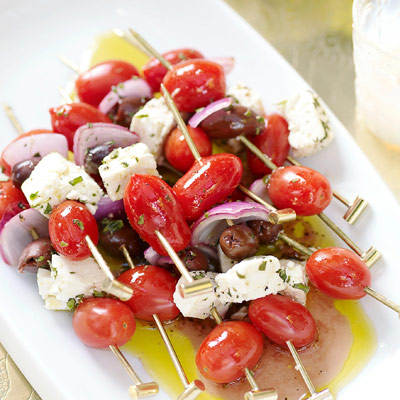 8 best greek salad recipes easy ideas for greek salads skewers stacked with classic greek salad ingredients tomatoes olives and feta cheese forumfinder Choice Image