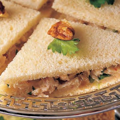 Chutney Chicken Salad Tea Sandwiches - Sandwich Recipes - Lunch | Best image of amazing chicken salad sandwich recipe collection