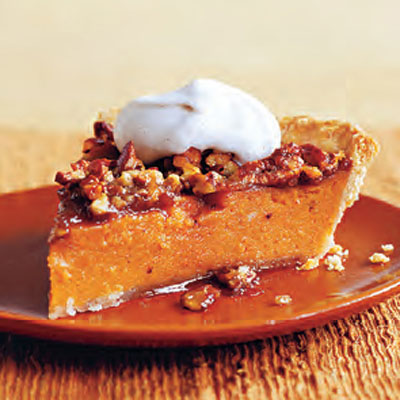 ... scrumptious pie.Recipe: Sweet Potato and Pecan Pie with Cinnamon Cream