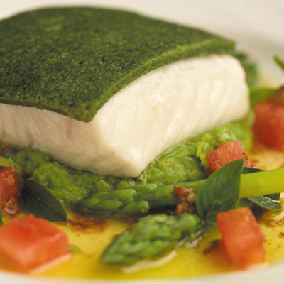 Halibut Recipe - Herb-Crusted Halibut with Pea Puree and Coriander ...