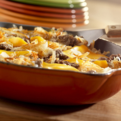 Hash browns, cheese, ketchup and ground beef combine for a stick-to ...