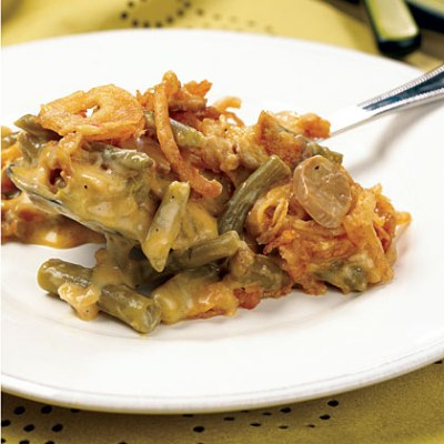 The addition of cheese and mushrooms to the usual green bean casserole ...