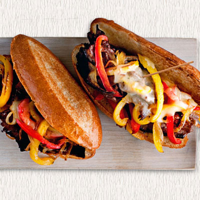 Cheesesteaks with peppers and onions recipe for Bar food ideas recipes