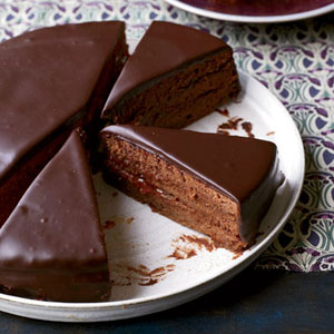 ... Austrian chocolate cake layered with apricot preserves.Recipe: Sacher