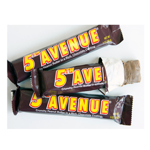 Named after New York City's fancy address, the 5th Avenue Bar was introduced in 1936 by the makers of Luden's cough drops. The new bars don't include almonds like the original but other than that, this rich milk chocolate bar with a crunchy peanut butter center remains unchanged. ($1.19, oldtimeycandy.com)