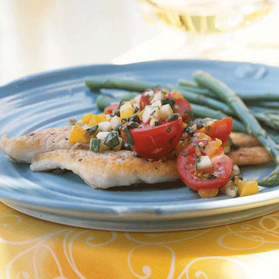 ... or butter sole.Recipe: Pan-Fried Sole with Cucumber and Tomato Salsa