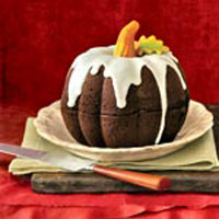 This recipe makes both a tiered layer cake and the easy pumpkin cake pictured here.