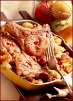Pork Crown Roast with Apple-Pear Stuffing and Cranberry Sauce