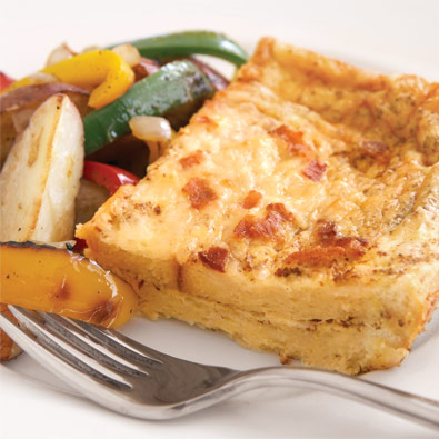though this recipe calls for gruyere cheese you can swap in shredded swiss instead - Cheese Egg Strata