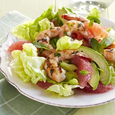 Lime-Rubbed Shrimp with Avocado-Grapefruit Salad