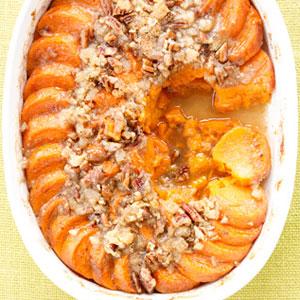 Sweet Potato Gratin With Pecan Ginger Streusel