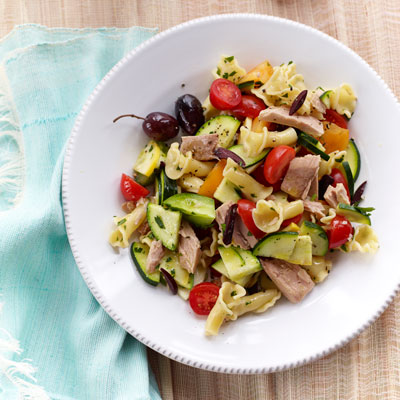 This pasta salad is loaded with farm-stand squash and zucchini — and two pounds of tomatoes. Just combine the raw veggies with canned tuna and campanelle pasta for a beat-the-heat — and beat-the-clock — meal.Recipe: Rustic Pasta Toss with Tuna and Tomatoes
