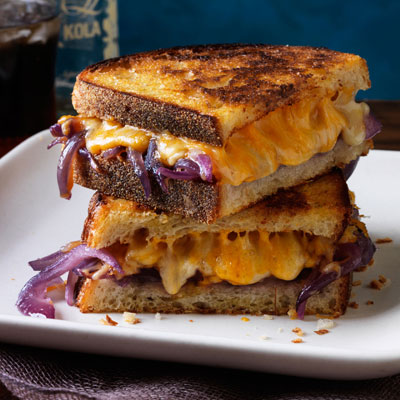Bourbon onions and grilled cheese